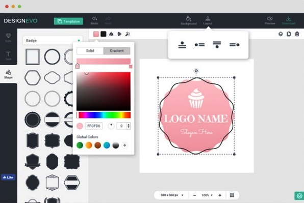 Create logo using predefined template