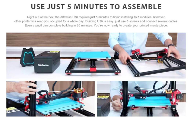 Alfawise U 20 Large Scale DIY 3D Printer Assembling