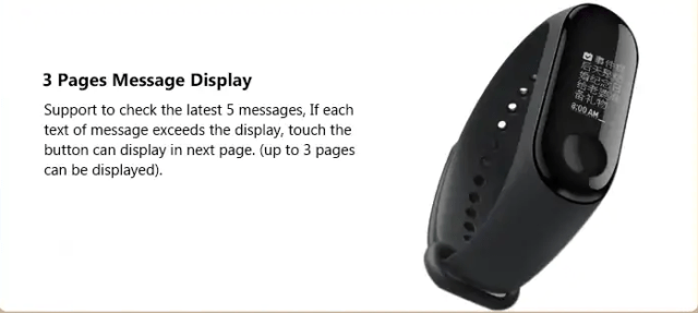 Xiaomi Mi Band 3 3 Page Messages Display
