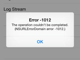 NSURLErrorDomain Error 1012