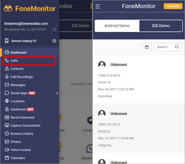 Monitor Call Logs & Check Contacts