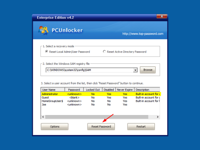 When you boot up to the PCUnlocker program, It will show the list of users available in your Windows 10 system