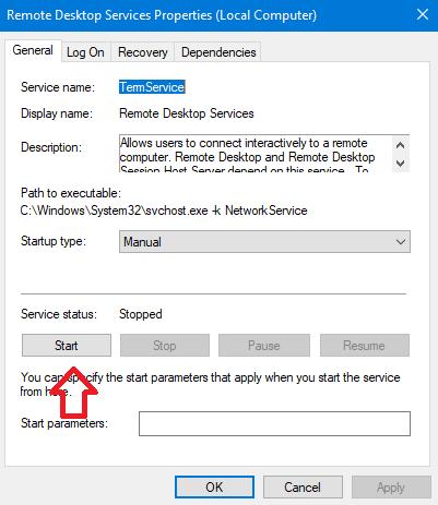 remote desktop connection An Internal Error has Occurred