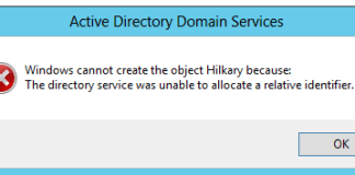 The Directory Service Was Unable To Allocate a Relative Identifier