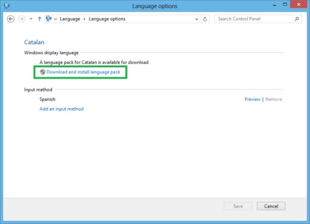 Windows language package
