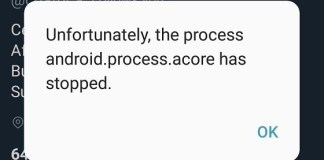 Unfortunately The Process Android.Process.Acore Has Stopped
