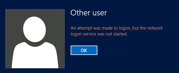 An Attempt Was Made To Logon But The Network Logon Service Was Not Started Error