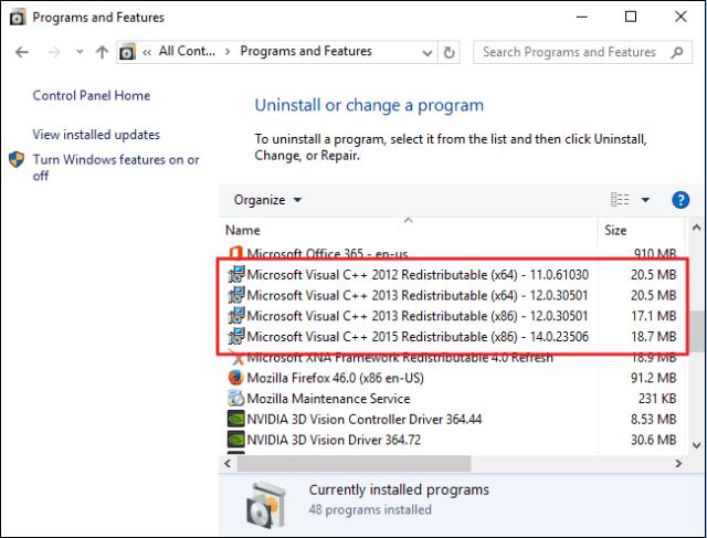 program and features control panel Configuration Error