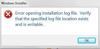 Error opening installation log file