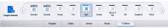 """Hover towards the end of the screen & click on Toolbar, click on """"Split"""