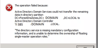 The Directory Service Is Missing Mandatory Configuration Information