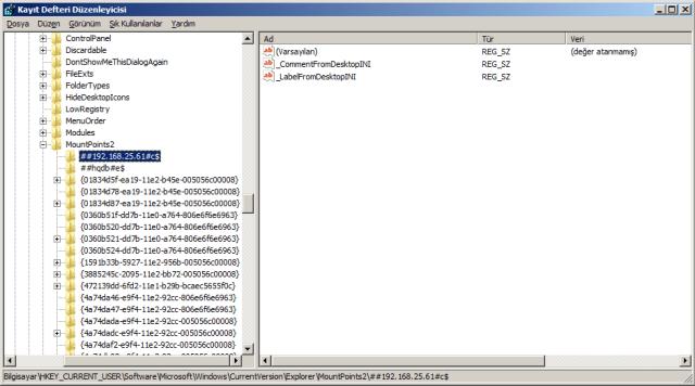HKEY_CURRENT_USER\Software\Microsoft\Windows\CurrentVersion\Explorer\MountPoints2