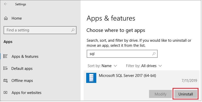 uninstall sql server windows
