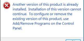 Another Version of This Product Is Already Installed