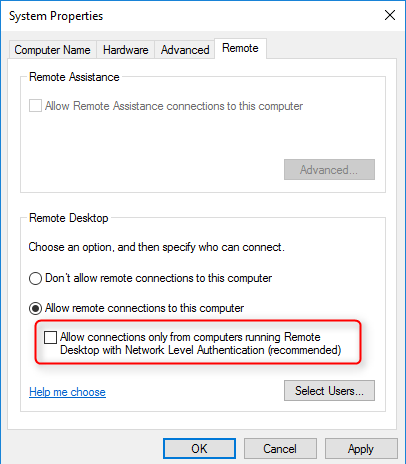 Allow connections from computers running any version of Remote Desktop (less secure)