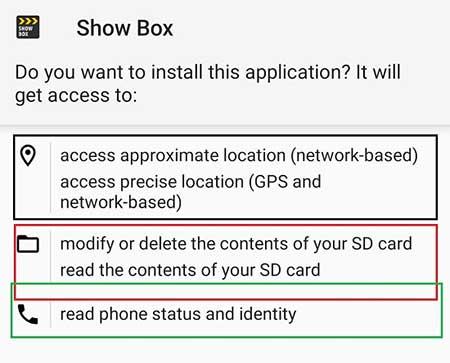 Showbox App Permissions