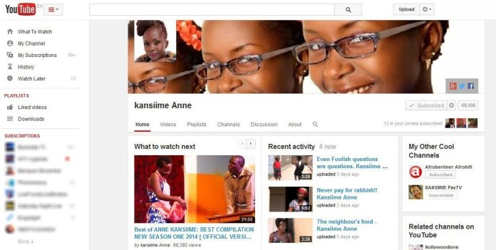 Anne Kansiime Receives Youtube Accolade