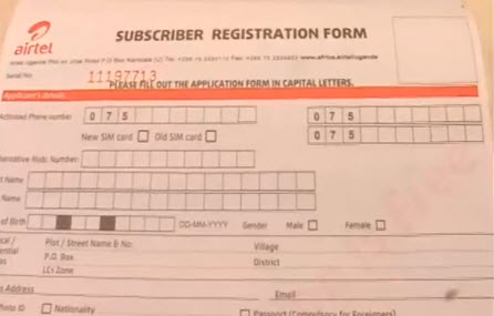 SIM card registration form Airtel