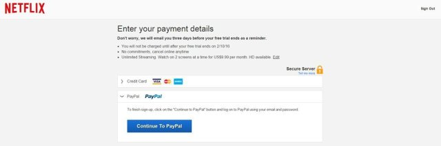 Netflix payment options