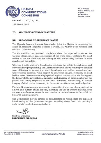 Letter of UCC condemning Media Houses