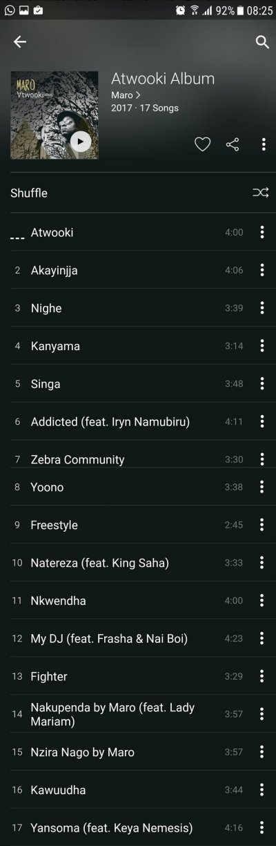 Maro Atwooki Album - Track List