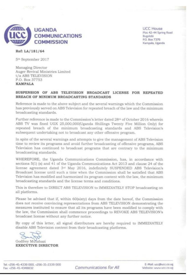UCC warns ABS TV - letter