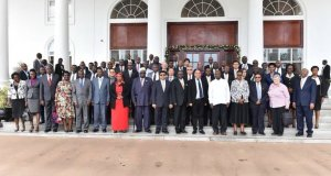 President Museveni and other dignitaries at the Presidential Investors Round Table