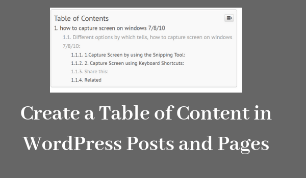 Create a Table of Content in WordPress Posts and Pages