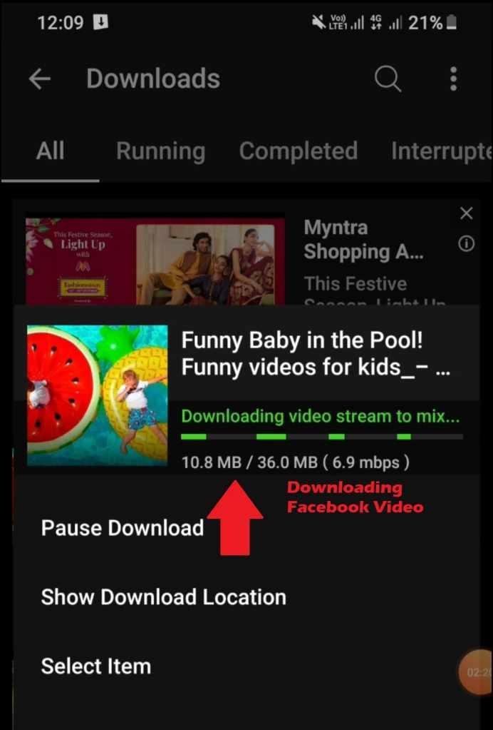 Downloading Facebook video