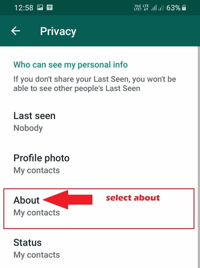 select about option in your whatsapp