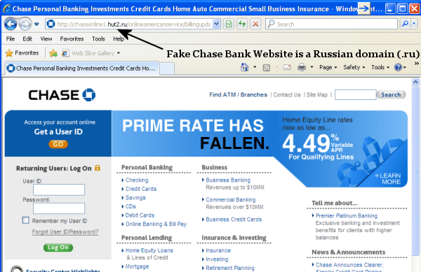 Image result for fake chase bank website
