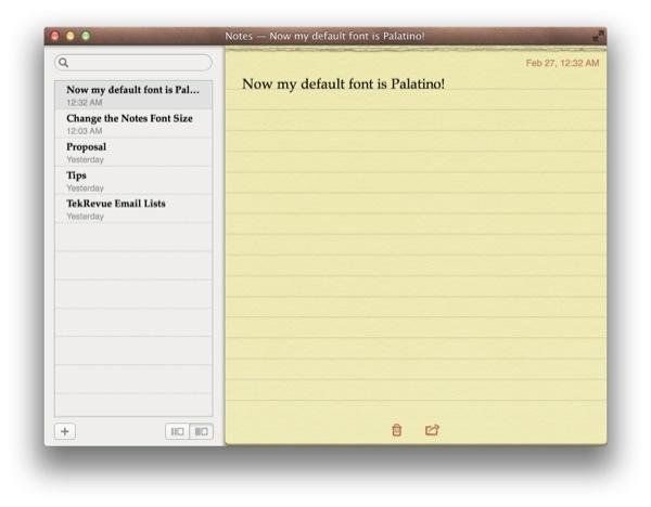 Change Default Font Size Notes OS X