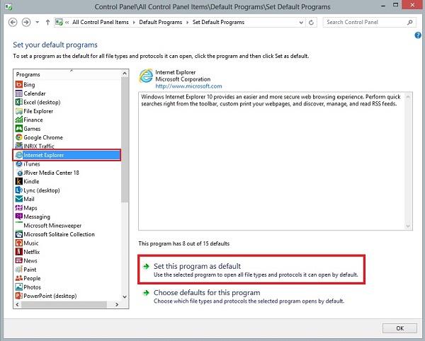Windows 8 Ställ in standardwebbläsare