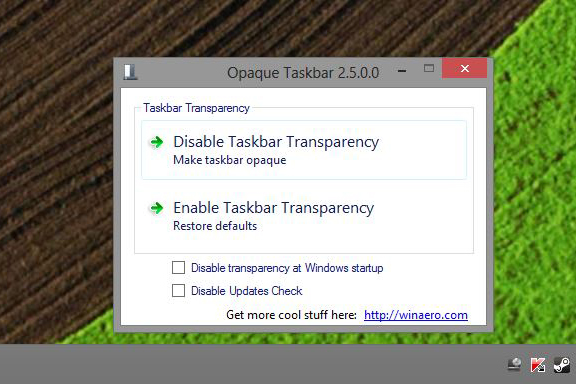 Opaque Taskbar Windows 8