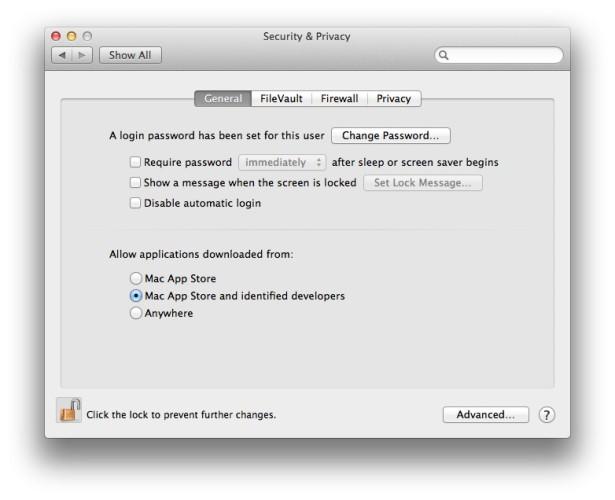 Mac OS X Gatekeeper Settings