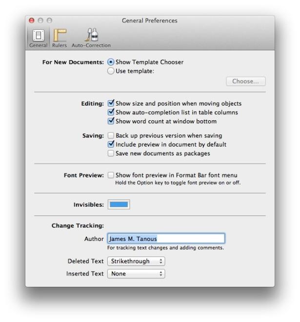 Pages Preferences Font Previews