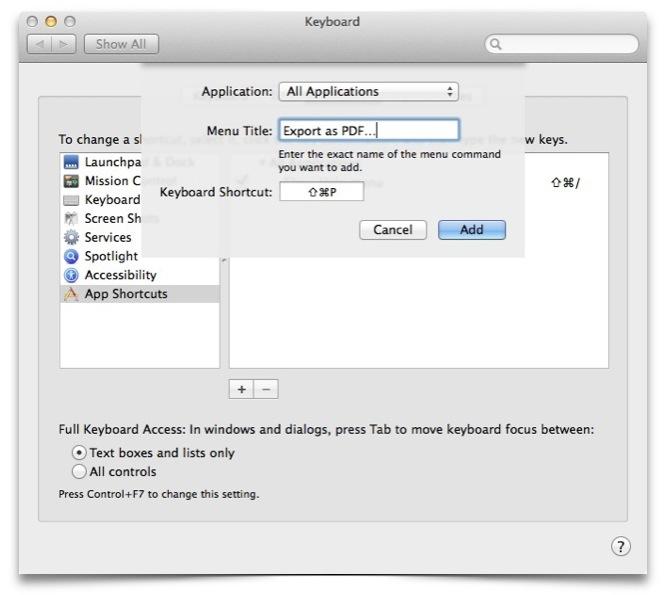 Skapa anpassad tangentbordsgenväg för att exportera till PDF i OS X