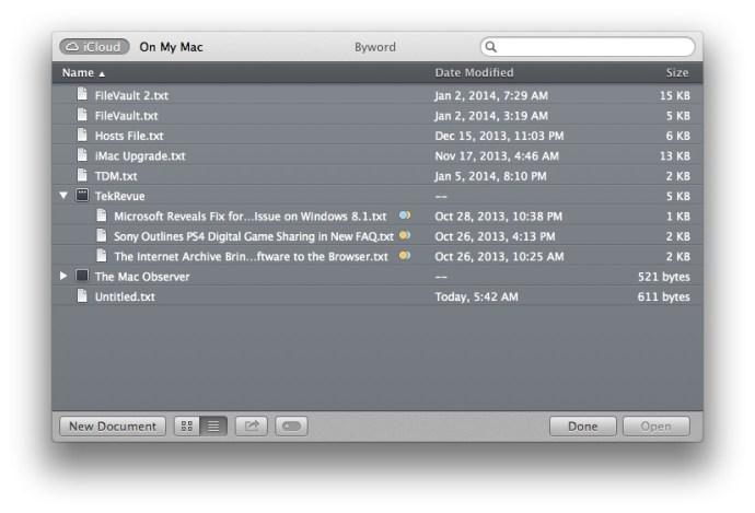 Mappar för iCloud-dokument