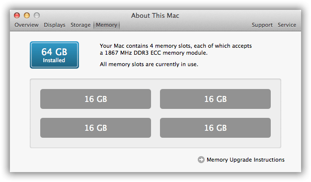 2013 Mac Pro RAM Upgrade 64GB