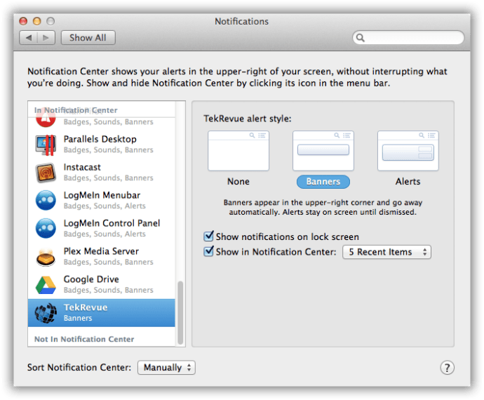 Notifications OS X System Preferences
