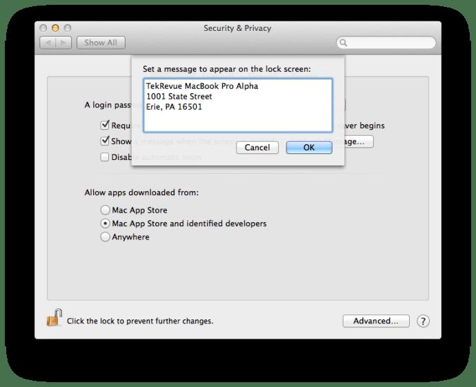 Meddelande för Mac-låsskärm