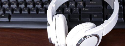 Computer headphones on keyboard