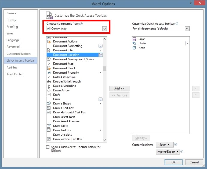 Office Document Location Quick Access Toolbar