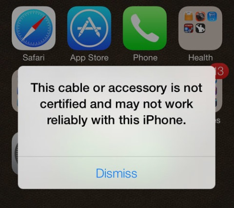 This cable or accessory is not certified: iPhone Fix