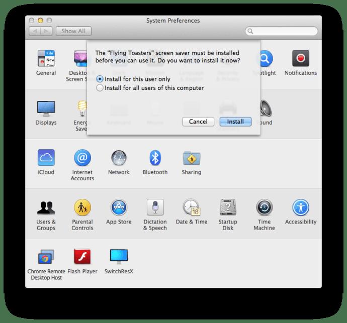 Install Screen Saver Mac OS X