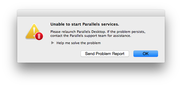 Parallels Desktop 9 Unable to Start Parallels Services