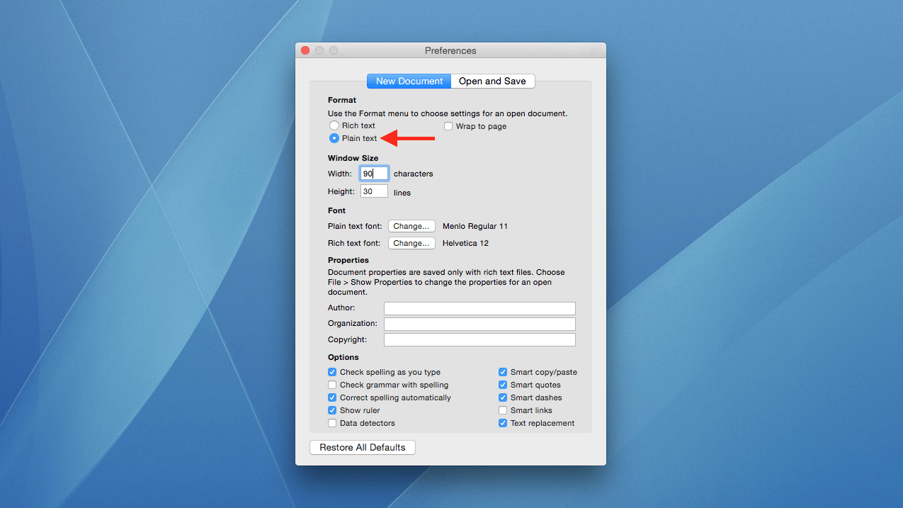 How to Use TextEdit Plain Text Mode by Default in Mac OS X