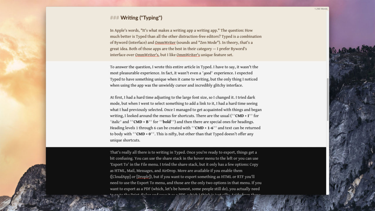 Typed for Mac Offers a Buggy and Inconsistent Writing Experience