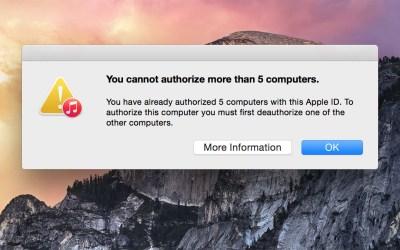 authorize iTunes 5 computer limit