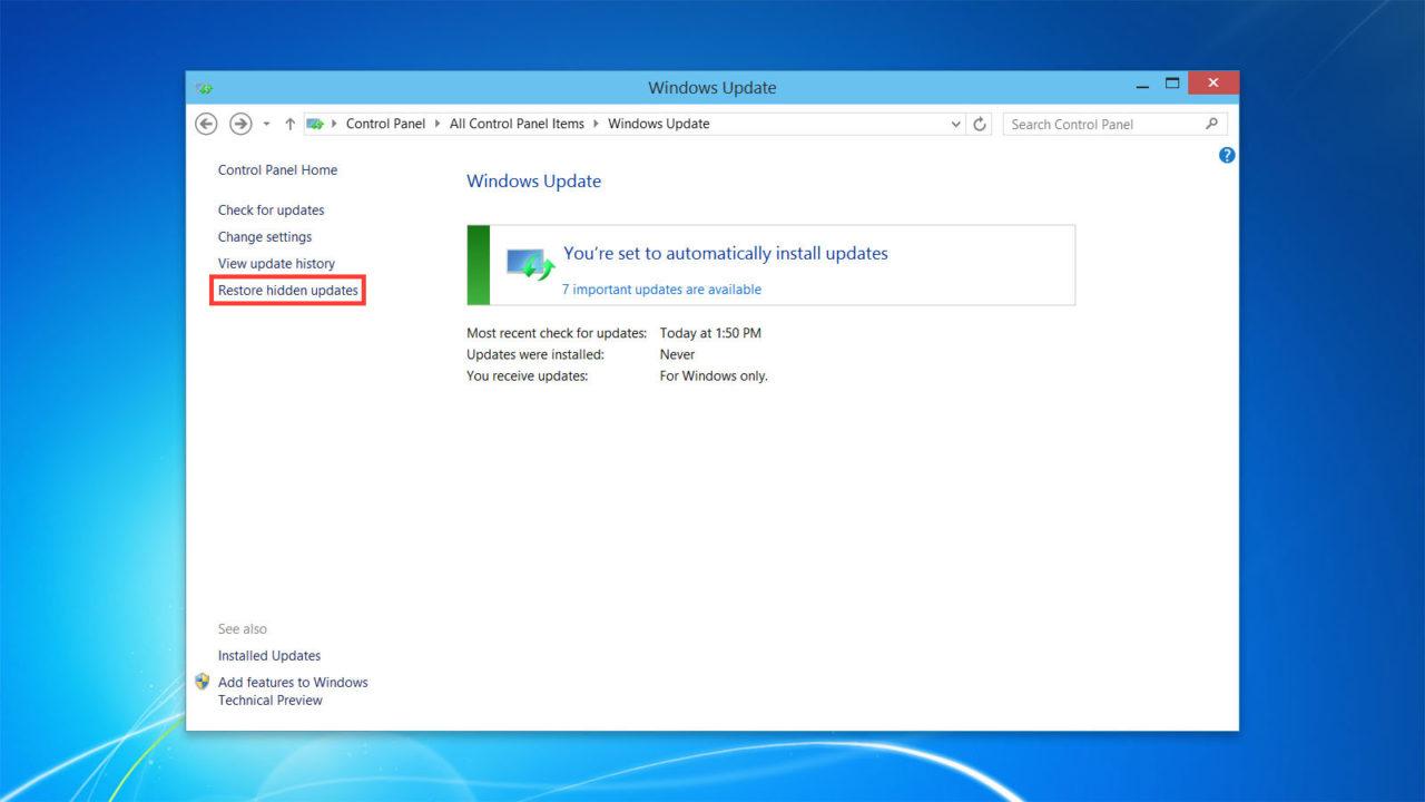 how to restore windows update